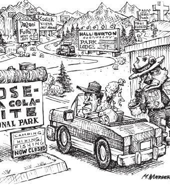 cartoon showing yosemite as being sold out and corrupted