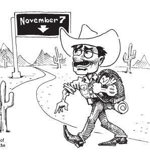 Cartoon showing hightower walking toward november 7