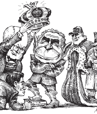 Cartoon showing bush being crowned