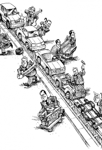 cartoon showing an unfair reverse conveyor belt
