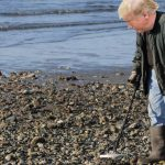Donald Trump uses a metal detector on the beach