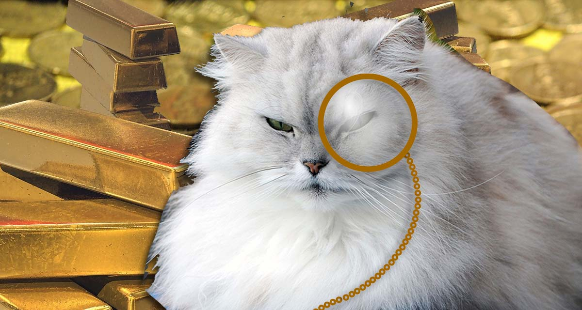 white persian cat in front of gold bars and coins wears a monocle