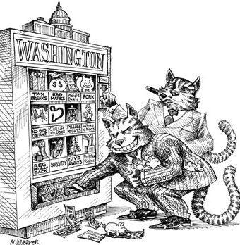 cartoon showing 'fatcats' robbing washington
