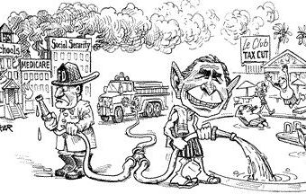 Cartoon showing bush using public supplies to fuel the rich