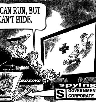 Cartoon showing the government spying on people with drones