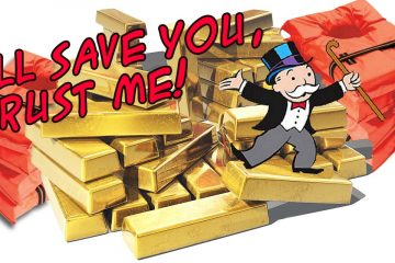 mr monopoly stands on a stack of gold bricks and life jackets promising he'll save everyone