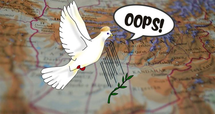 "Dove of peace drops olive branch over Afghanistan, says ""oops!"""