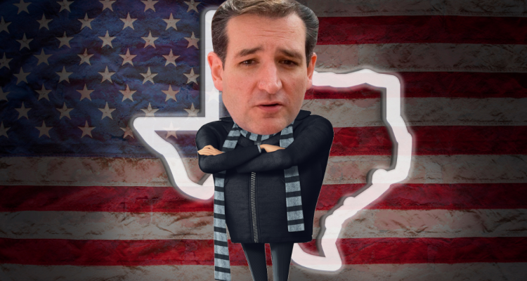 "Ted Cruz's head on the body of Despicable Me's ""Gru"""
